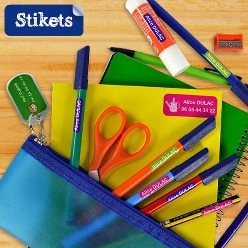 Stikets : étiquettes pour fournitures scolaires
