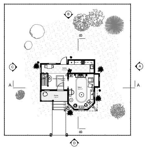 plan de la maison là haut