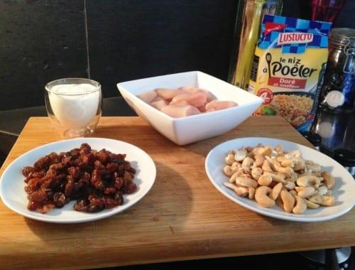 poulet cajou : les ingrédients