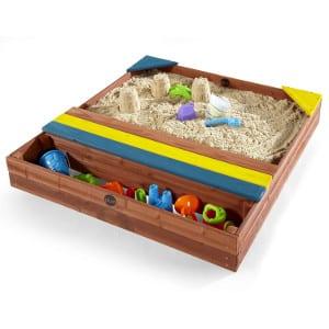Bac à sable en bois avec bâche et rangement Plum