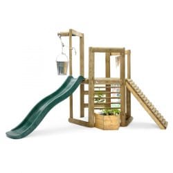 Aire jeux bois enfant toboggan Discovery Woodland Treehouse