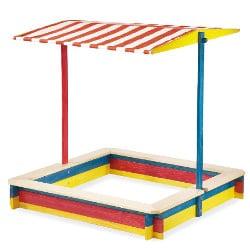 Bac à sable avec toit Pinolino en bois pour enfant