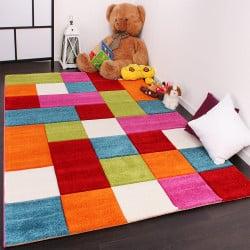 Tapis enfant à carreaux multicolores
