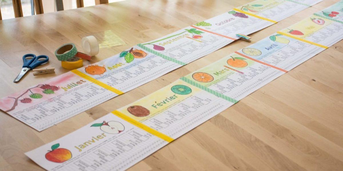 le calendrier des enfants sur le thème des fruits