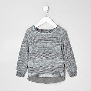 mode enfant : Pull en maille grise texturée