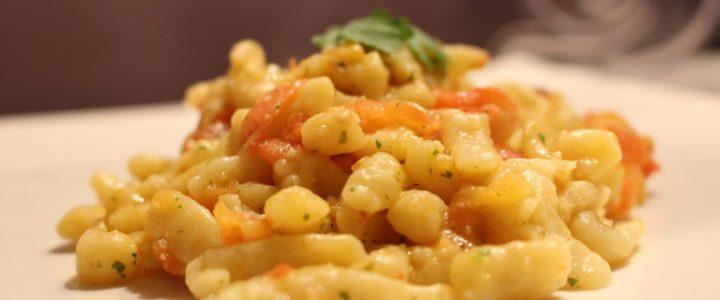 Challenge Quitoque : spatzle aux tomates roties et pesto de coriandre
