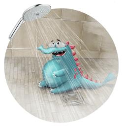 économiser l'eau sous la douche avec Gaspillosaure