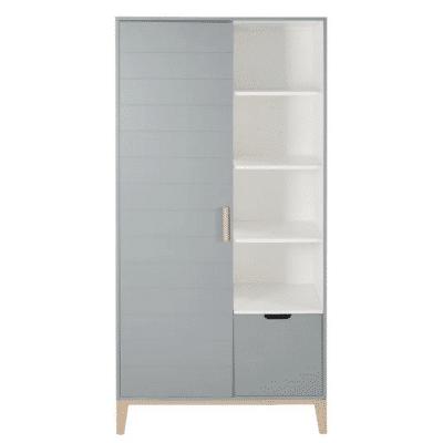 Dressing-enfant-vintage-Gaspard-2-portes-1-tiroirs-gris-bleu