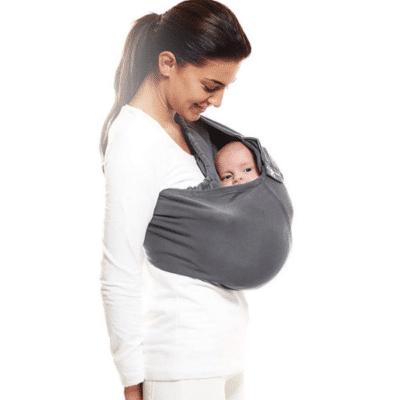 Mochila porta bebé gris de la marca Wallaboo