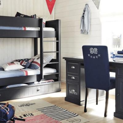 lit superposé noir dans une chambre enfant newport marque Maisons du Monde
