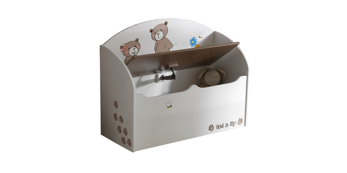 coffre à jouets blanc Ted & Lily marque Demeyere