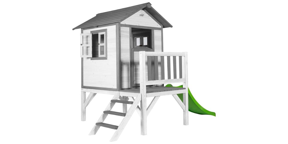 cabane en bois Sunny Lodge sur pilotis avec toboggan pour enfant