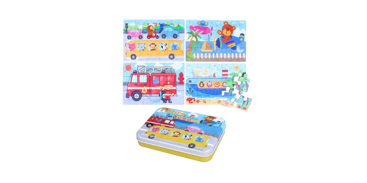 Puzzle pour enfant en bois 4 en 1 marque Toymytoy
