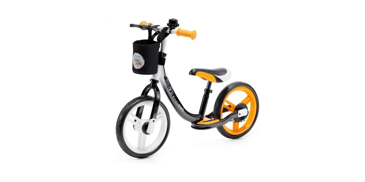 draisienne de la marque kinderkraft couleur orange et noir avec panier devant