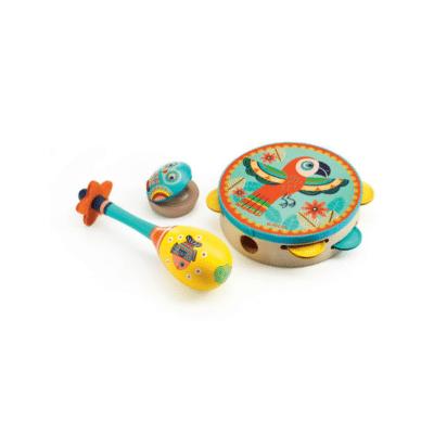 trois instrument un tambourin, une cymbale et une maraca enfant marque Djeco