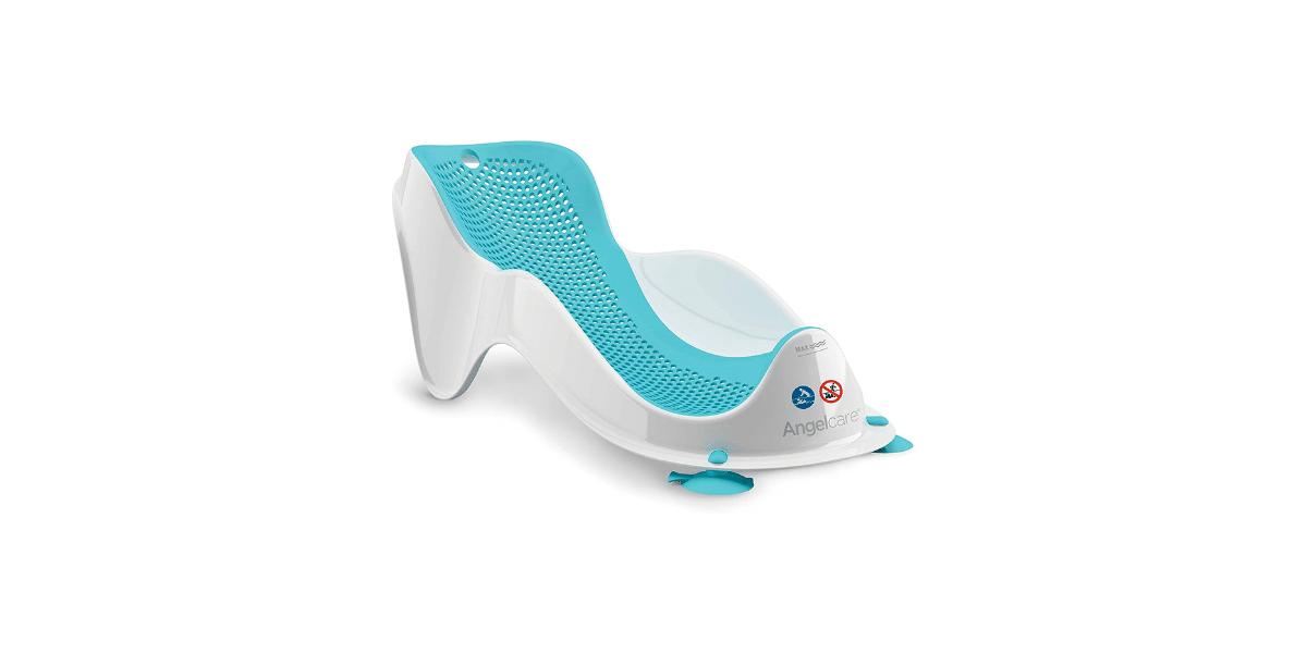 transat de bain bleu et blanc marque Angelcare