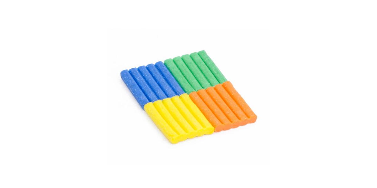 quatre pâtes à modeler couleurs bleue verte jeune et orange bio cire d'abeille paillettes marque les jouets libres