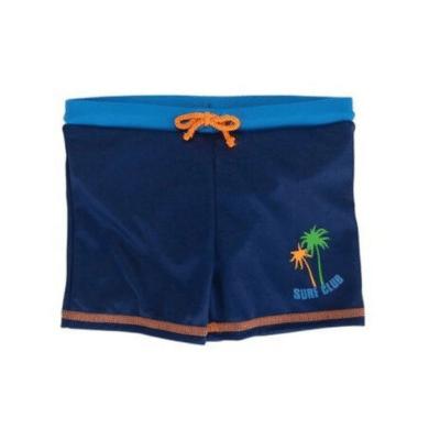 short couche bain bleu marine avec palmier dessus