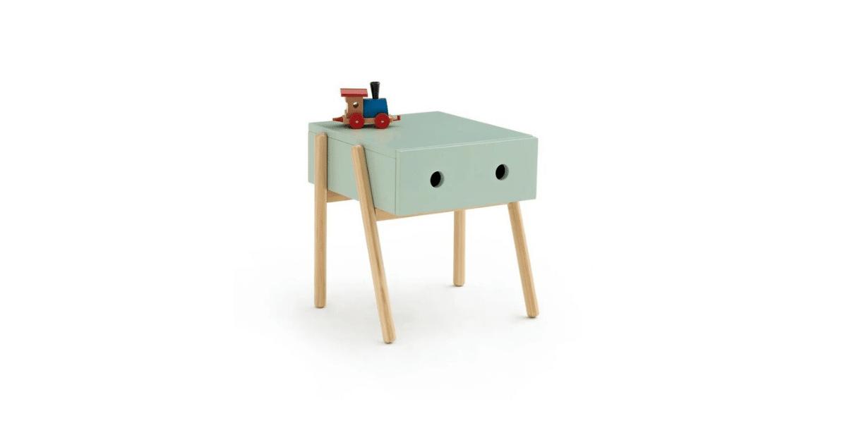 table de nuit vert avec pied en bois marque La Redoute Intérieurs