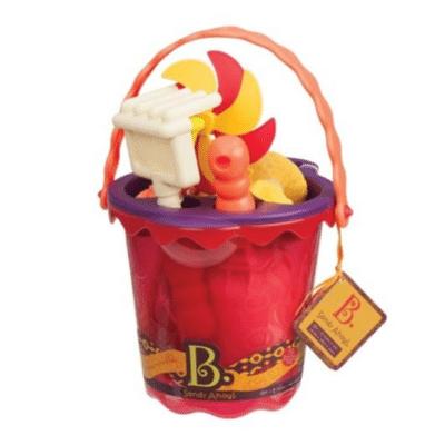 set de plage rouge avec accessoires et seau marque B Toys
