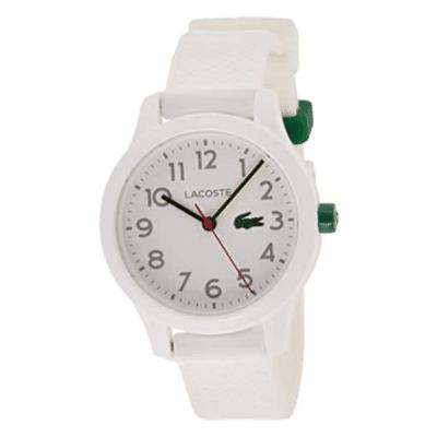montre blanche avec crocodile vert marque Lacoste