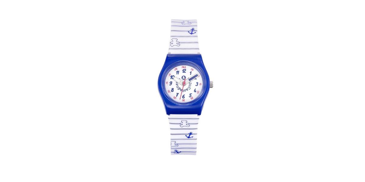 montre rayée bleu et blanc marque lulu castagnette