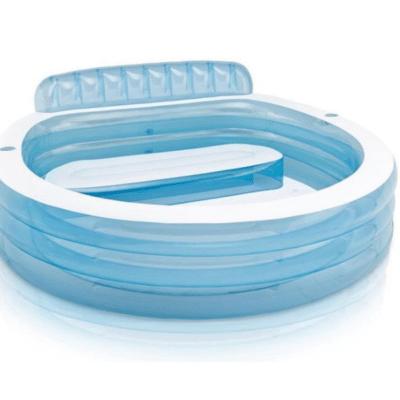 piscine gonflable bleu et transparent avec banc et dossier marque Intex